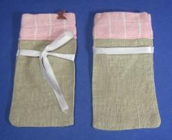 Sachet en tissu marron/rose